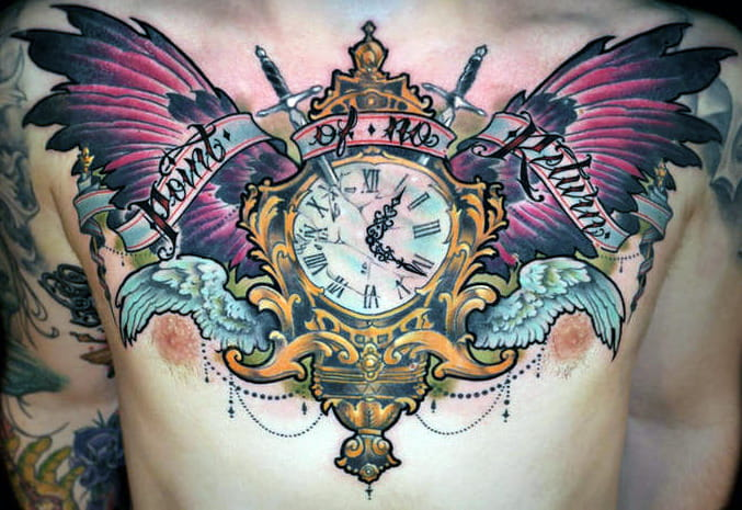 kid kros chest tattoo pocket watch wings
