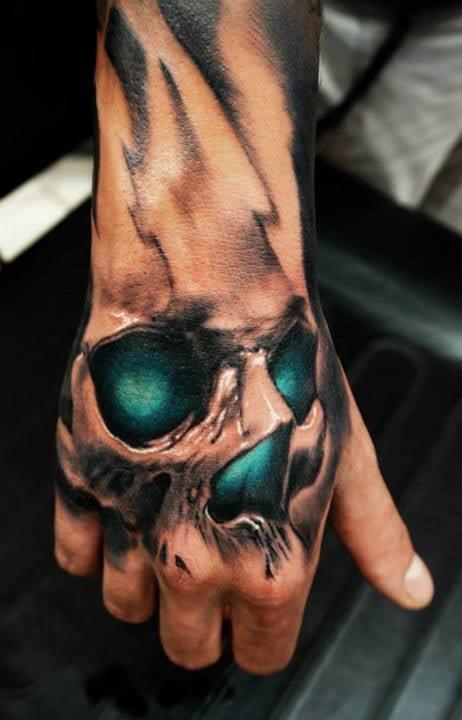 Artist Ozone Ofk Nico 3d emerald skull tatto
