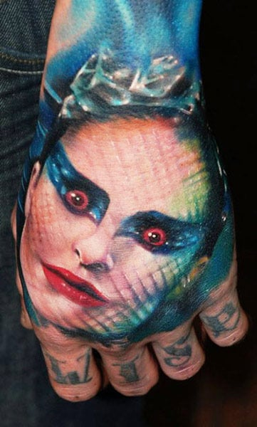 Tattooist Kyle Cotterman Dark Hand tattoo of the Black Swan