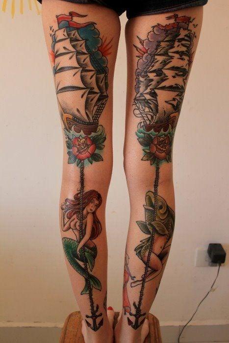 leg women tattoo