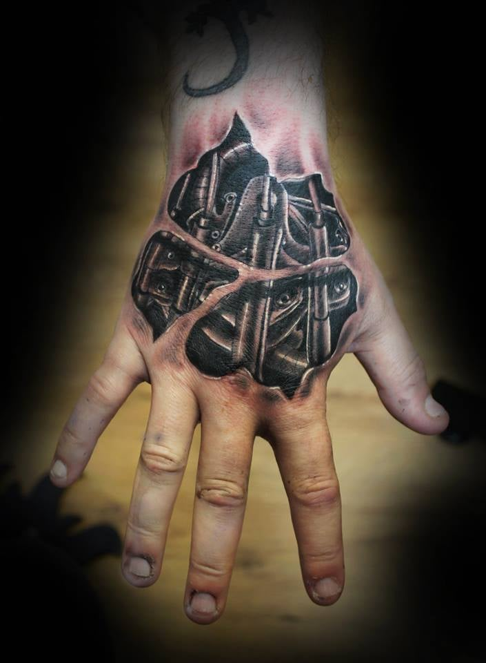 3d biomech hand tattoo by Evolve Ink Lancaster