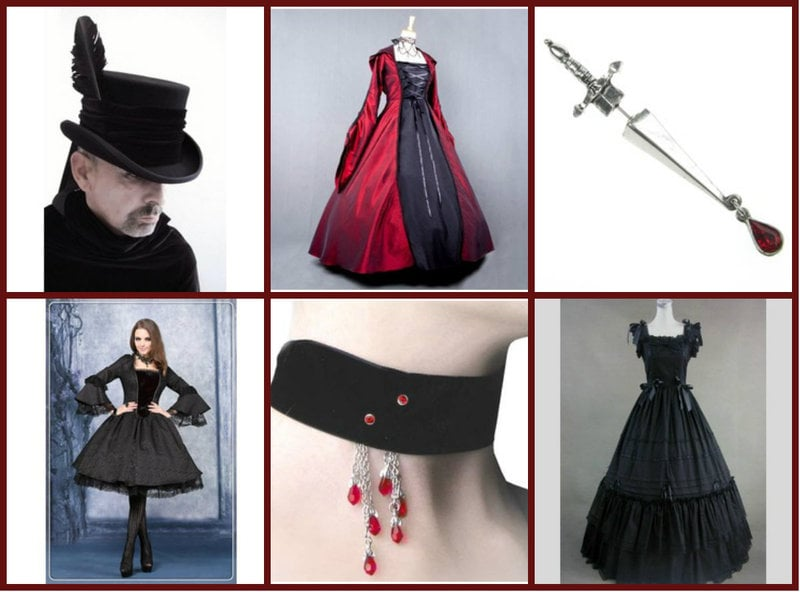 Gothic Fashion in Red and Black