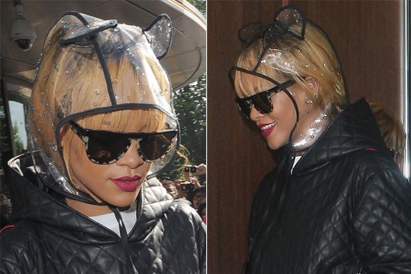 Rihanna looks adorable in her rain hat