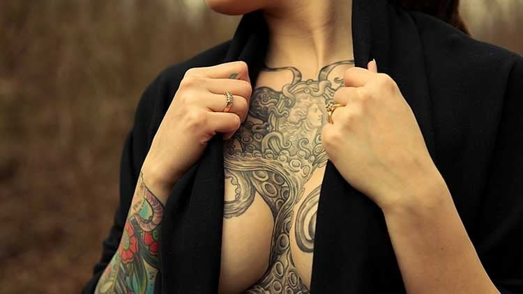 sexy Chest Breast  Octopus/Kraken Tattoo for women