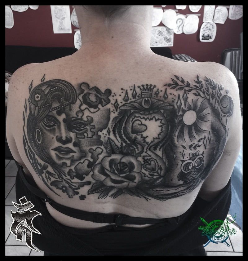 Some tattoo stories are told with symbolic images.