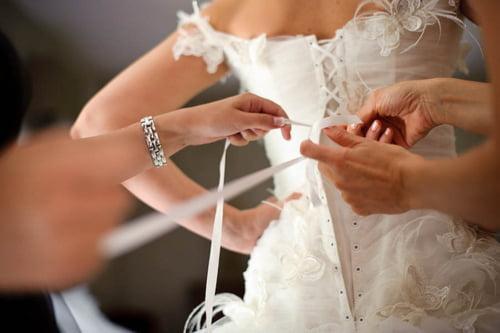 Putting on a corset dress