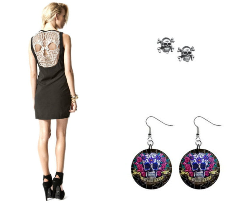 Skull earrings can be found in many colors and sizes.