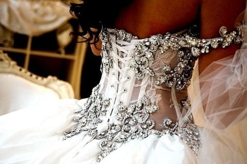 Wedding gowns with corset lacing.