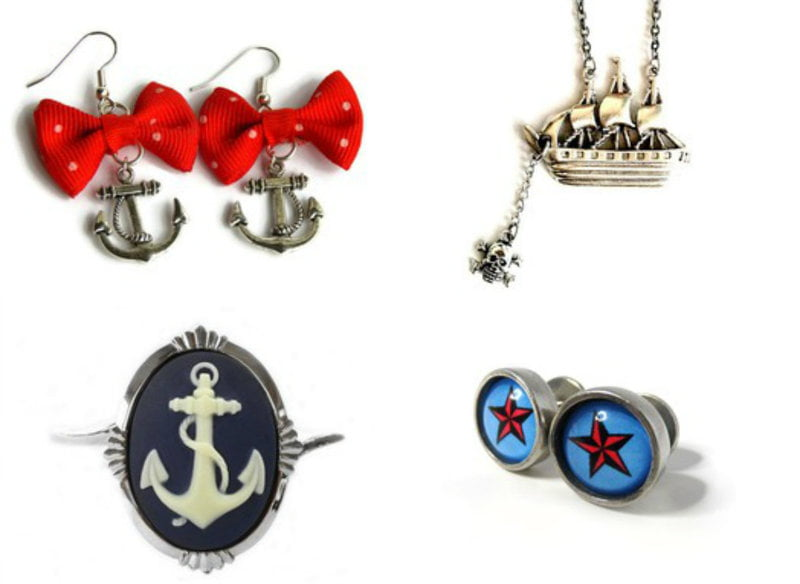 Jewelry with classic naval tattoo imagery on RebelsMarket