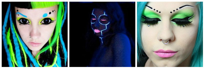 Examples of cybergoth and blacklight makeup