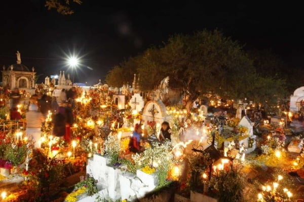 Cemetery remebrance for Dia de los Muertos, the Day of the Dead
