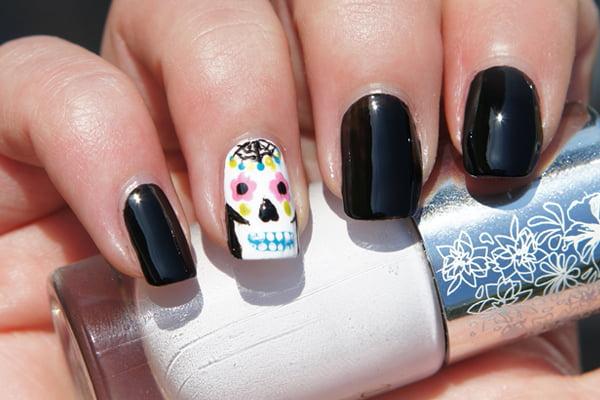 Day of the Dead sugar skull nail polish
