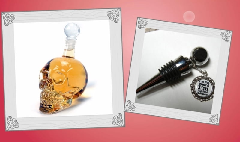 Barware such as glass decanters, unique bottle openers, and stoppers.