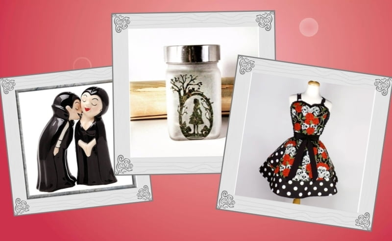 Kitchen gifts like salt and pepper shakers, cute aprons, and etched jars are great for hostess gifts