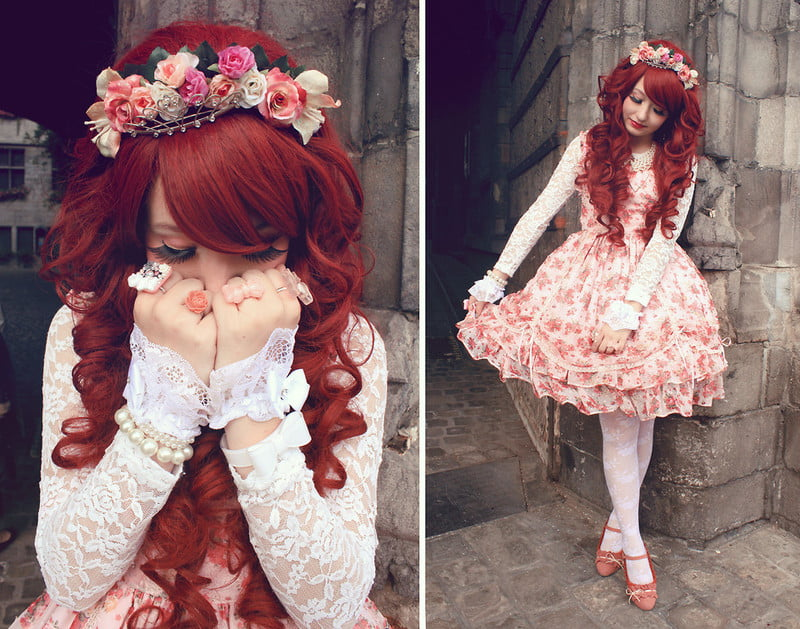 Sweet Lolita style focuses on doll-like fashion and makeup.