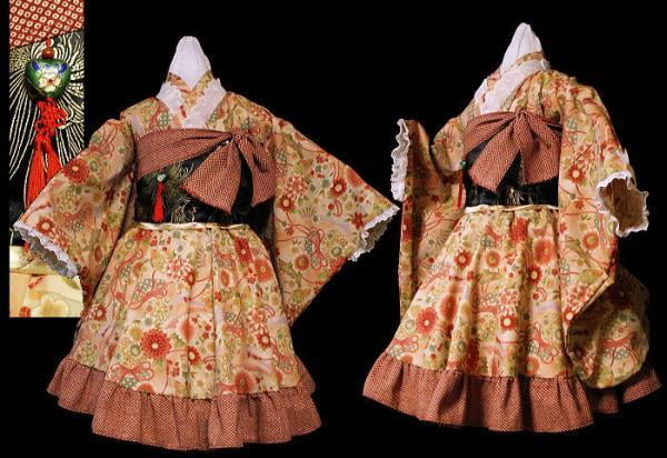 Wa Lolita incorporates traditional Japanese elements, such as kimono prints and obis.