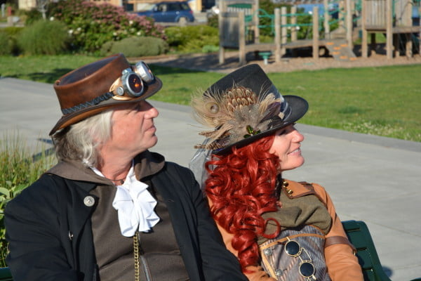 Victorian hats and goggles are frequently used in Steampunk costumes.