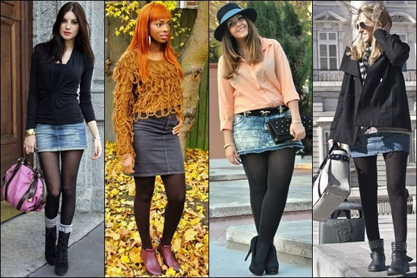 Even though temperatures are dropping, you can still wear your miniskirts- just pair them with warm leggings!