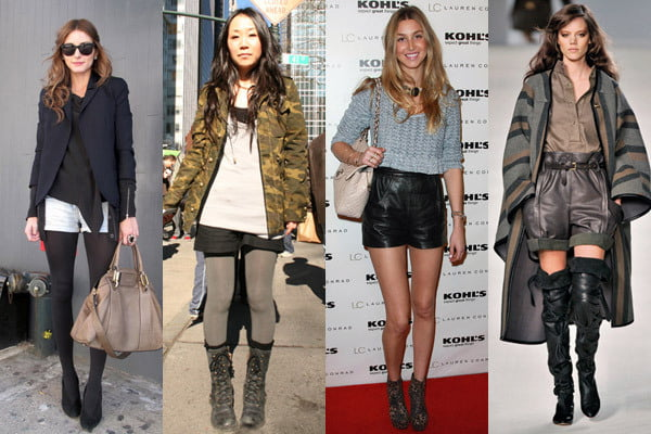 Try matching your favorite shorts with warm tights to wear them well into the cooler months.