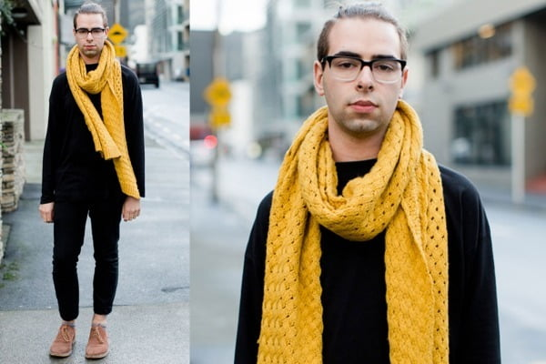 Guys, don't be afraid of a little color- adding a bright scarf can add a little extra eye-catching power to your look!