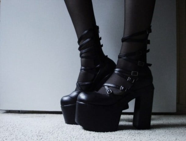 GothLoli footwear is an important part of the overall look, usually some adorable boots or super-cute mary janes.