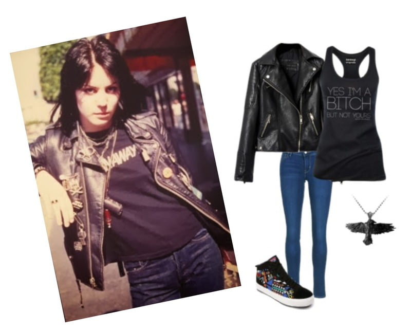 An everyday casual look with a motorcycle jacket!