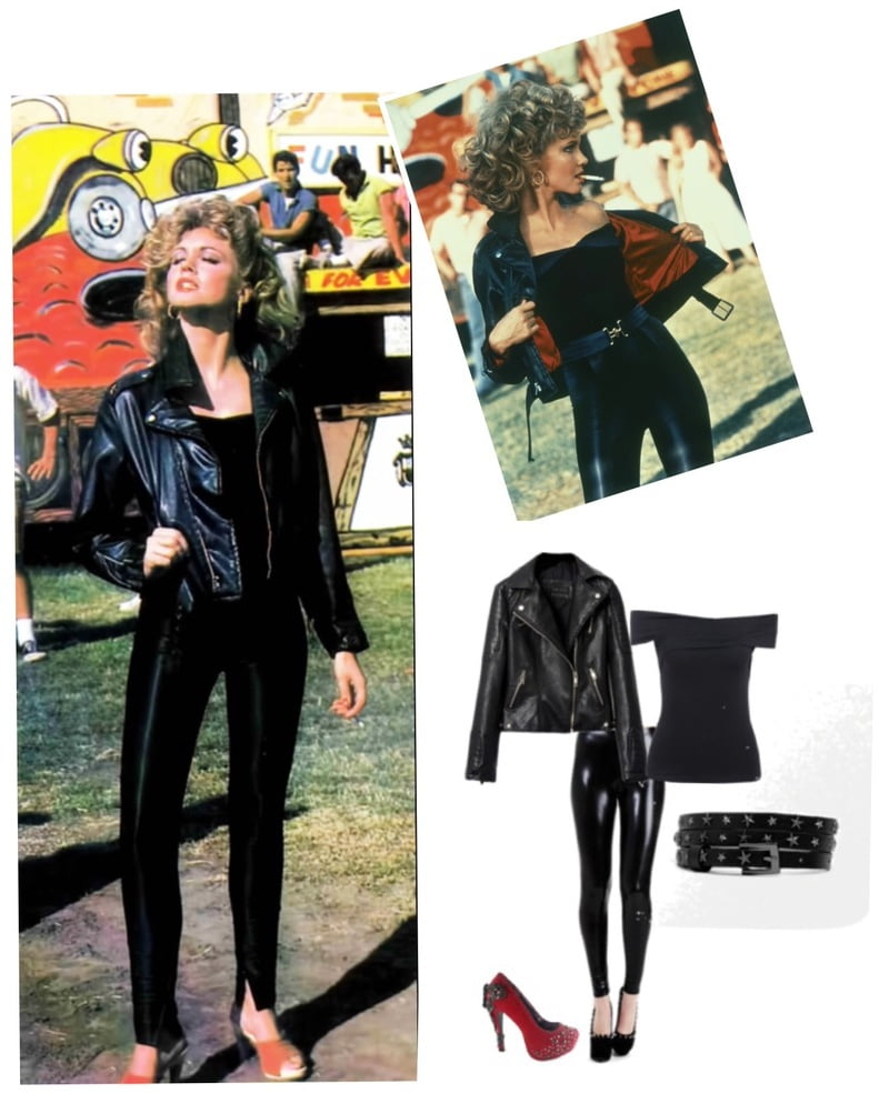 Black and skin tight all over with a motorcycle jacket!