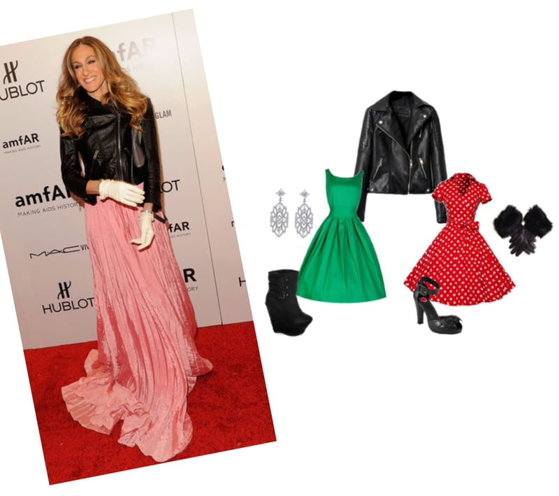 The biker jacket looks great with a dress on the red carpet!