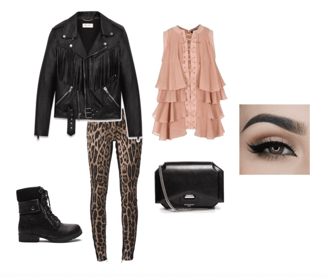 Pair leopard print pants with a flowy blouse, leather jacket, and combat boots for a goth rock look.
