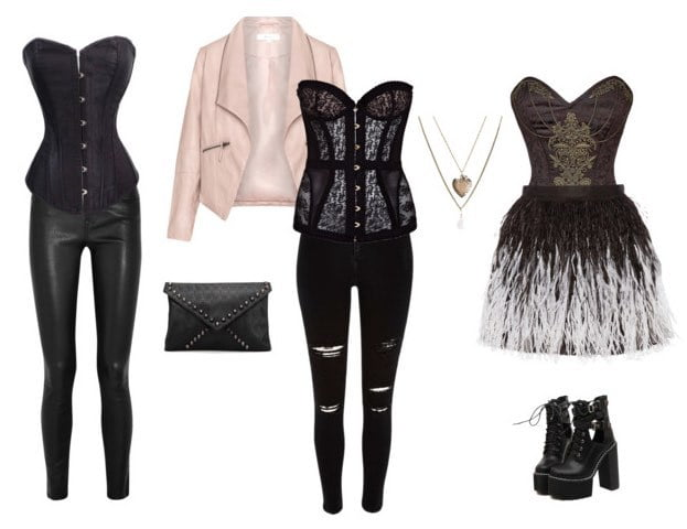 Style a corset with a leather jacket and a mini skirt