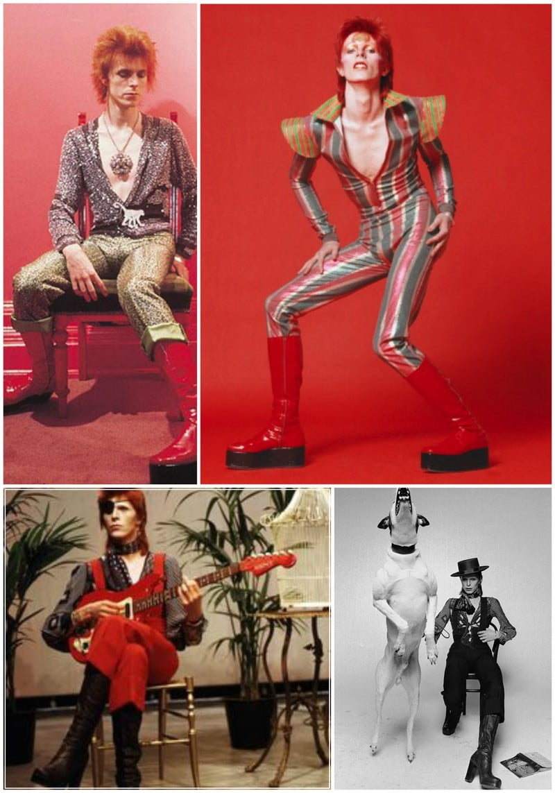 David Bowie wears platform boots to intensify his style