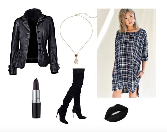 How to style a plaid dress with a neutral toned jacket, over- the- knee boots, and delicate jewelry.