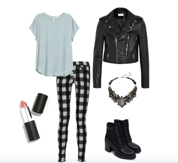 Style slim fit plaid pants with a leather biker jacket and a flowy, solid color t- shirt.