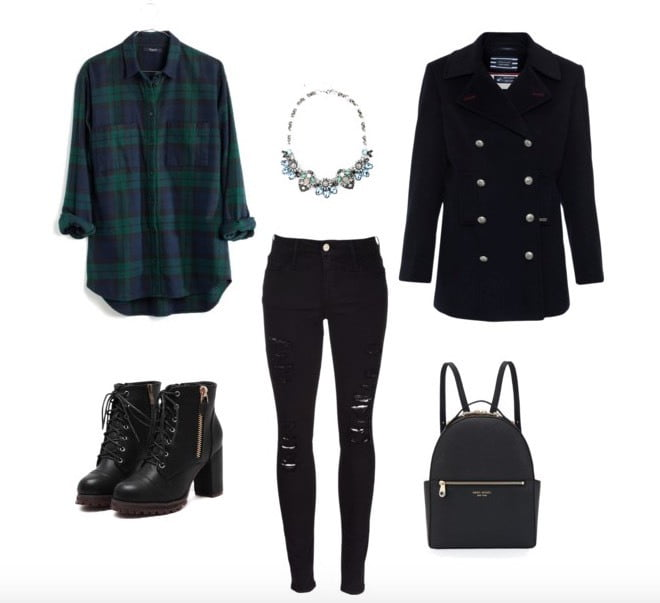 Button up your plaid flannel shirt and pair it with dark, distressed denim. Adding a peacoat on top will complete your look and keep you warm!