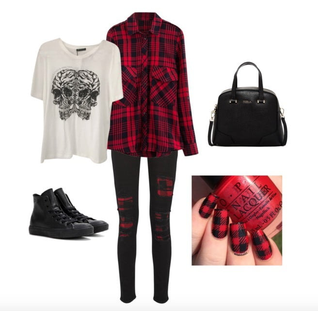 Layer a graphic t- shirt underneath a plaid button up for an easy, casual look.