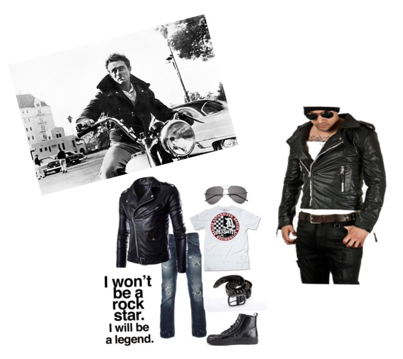 The black motorcycle jacket is signature of Classic James Dean style!