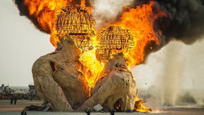 Burning Man festival celebrates the burning of two wooden figures.