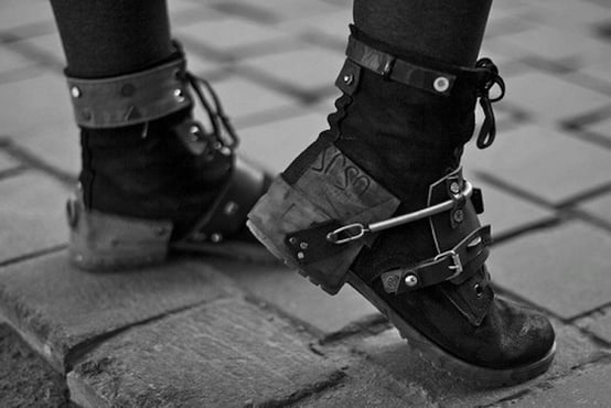 Punk boots are a perfect shoe choice for an androgynous look.