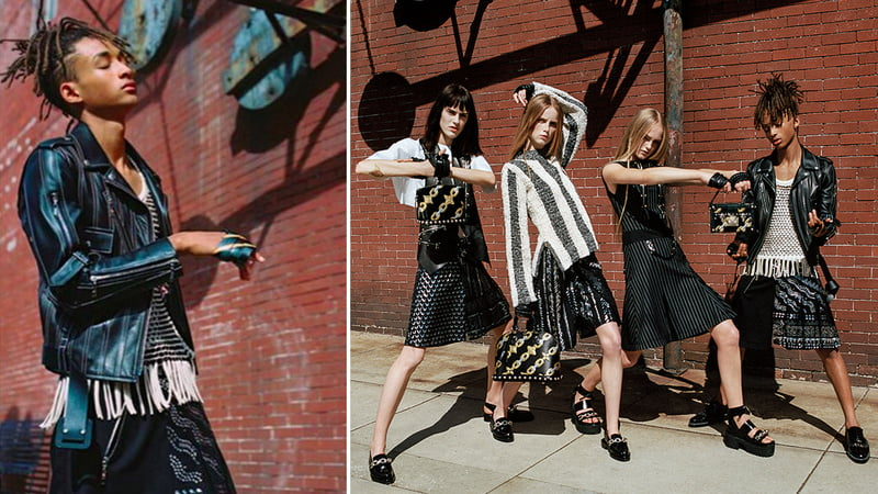 Jaden Smith featured wearing a plaid kilt in Vogue Korea.