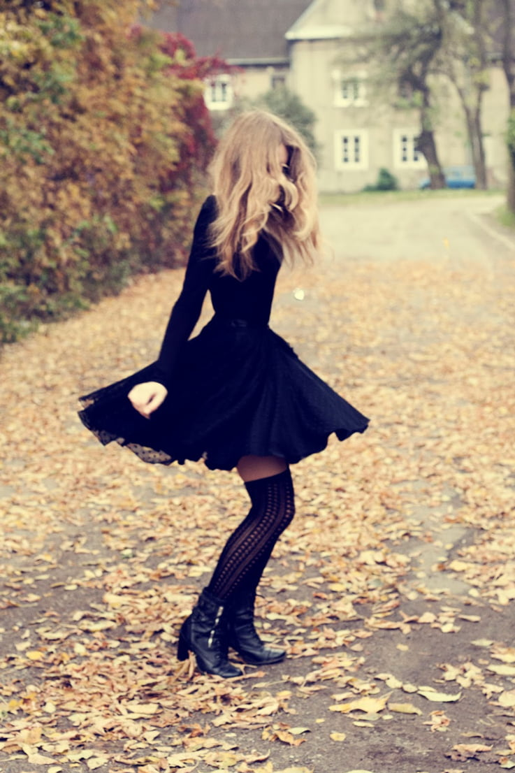 goth girl, little black dress, lbd, autumn, ootd, outfit, autumn outfit, tights, patterned tights,