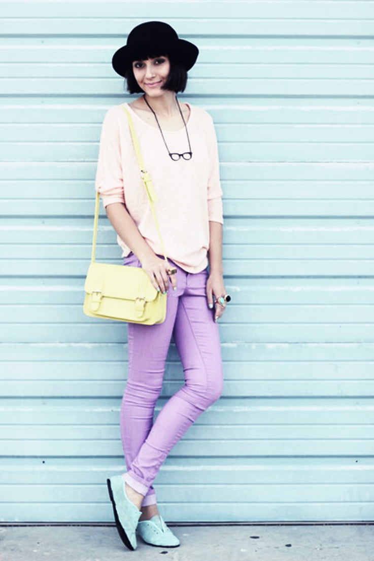 Pastel clothes do not have to be old fashioned or boring.