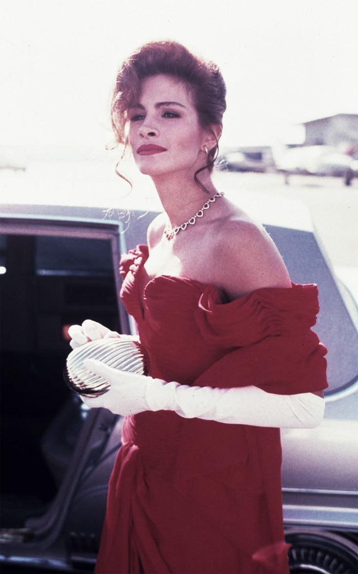 Julia Roberts looks stunning in her long red gown from Pretty Woman