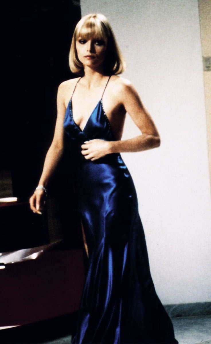 Blue Satin give a simple elegance to the slip dress from Scarface