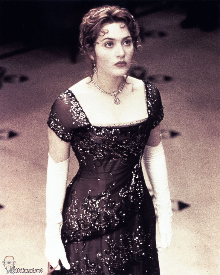 The stunning gown worn by Kate Winslet in Titanic almost takes away from Jack's tuxedo reveal