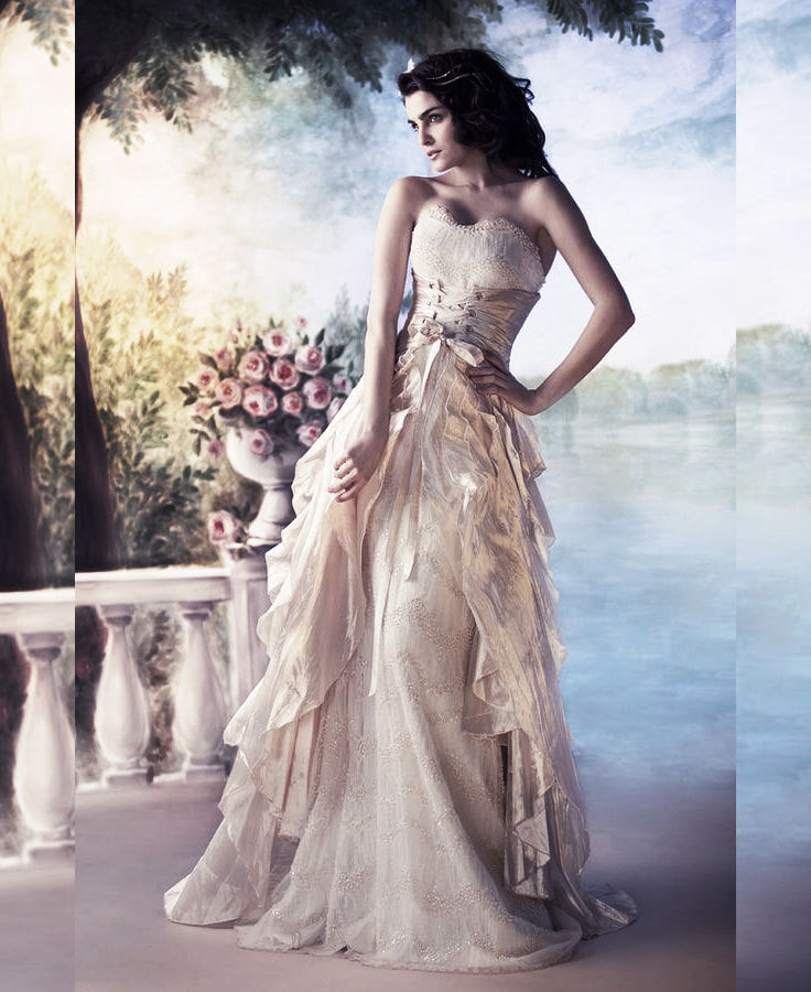 Get a classic romantic style with a corset layered over your gown.