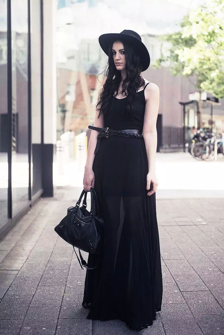 Sheer maxi dresses are a dark and cool style for summer Goth fashion.