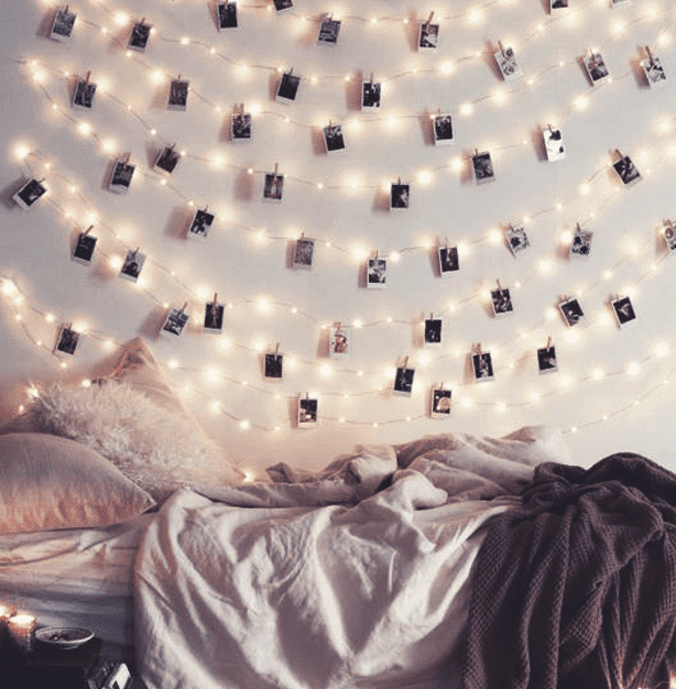 Get creative with string lights and show your alternative edge in your dorm decor.