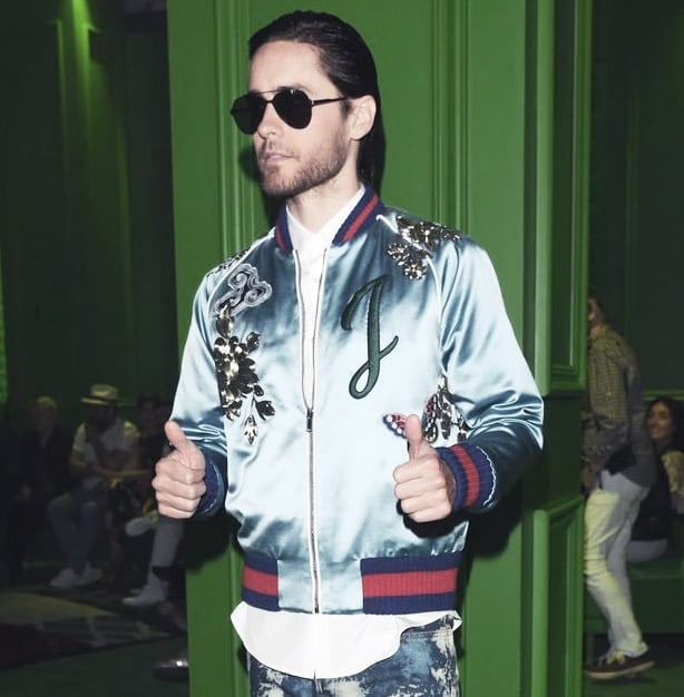 Rock patches on a track jacket like Jared Leto.
