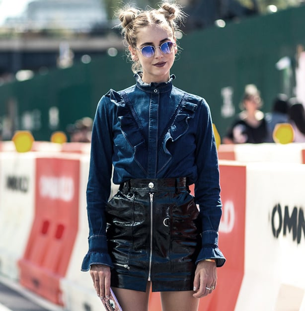 New York Fashion Week - Chiara Ferragni of The Blonde Salad rocking space buns.