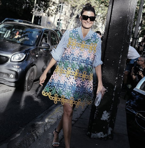 Paris Fashion Week Street Style - Embroidery and Crochet add texture to your style.